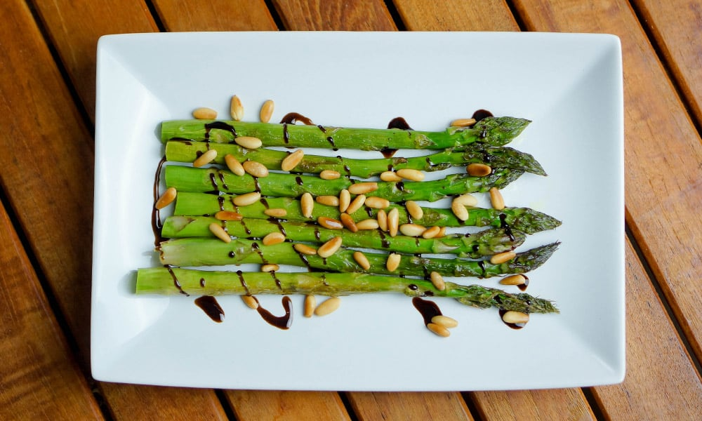 Asparagus with Creamy Balsamic & Pine Nuts