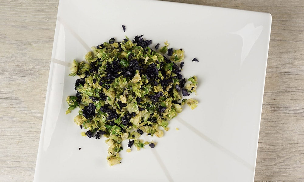 """Red Cabbage & Brussels Sprout """"Rice"""""""